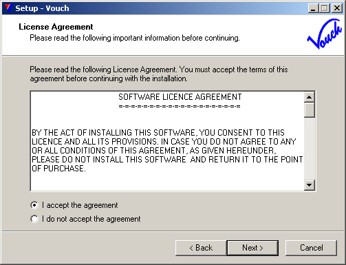 License Agreement - Read Carefully, if agreed, check <I accept agreement> radio-button and click <Next>