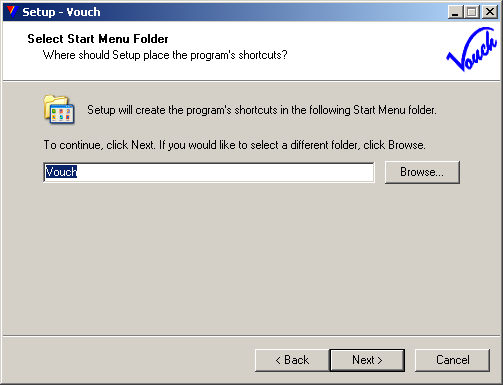 Provide a Start Menu folder name. You may leave it as is...
